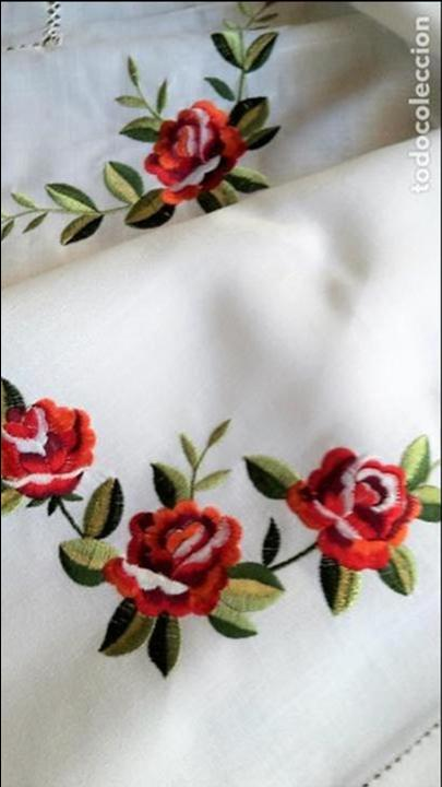Antigüedades: Magnifica manteleria bordada.Beige claro 180 x 270 cm. 12 Servicios - Foto 2 - 212769057