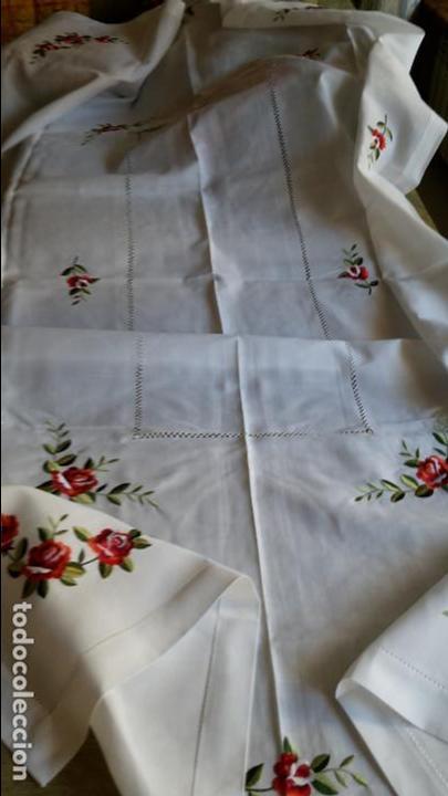 Antigüedades: Magnifica manteleria bordada.Beige claro 180 x 270 cm. 12 Servicios - Foto 4 - 212769057