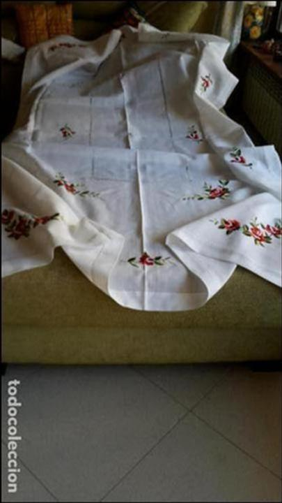 Antigüedades: Magnifica manteleria bordada.Beige claro 180 x 270 cm. 12 Servicios - Foto 8 - 212769057
