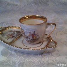 Antigüedades: SERVICIO INDIVIDUAL DE CAFÉ Y CENICERO EN PORCELANA JÄGGER. MARCA EN LA BASE. AÑOS 50.. Lote 68914697