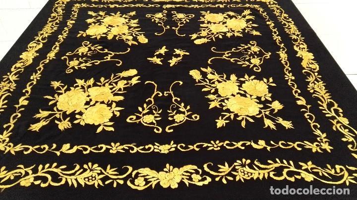 Antigüedades: Manton de Manila seda bordada original diseño - Foto 8 - 68918857