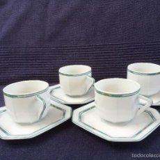 Antigüedades: JUEGO DE 4 TAZAS CAFÉ EN PORCELANA DE LIMOGES SELLADOS LIMOGES. Lote 68993837