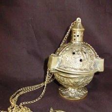 Antigüedades: ANTIGUO INCENSARIO BOTAFUMEIRO EN BRONCE MACIZO DE 1,420 KG CON FINO TRABAJO LABRADO. Lote 69007673