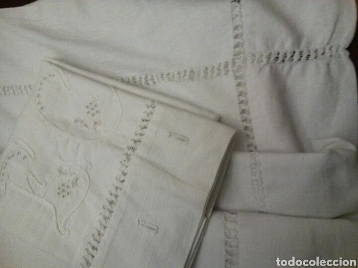 Antigüedades: * ANTIGUA SABANA DE HILO CON FUNDAS. (Rf: LL-14/*) - Foto 3 - 69013987
