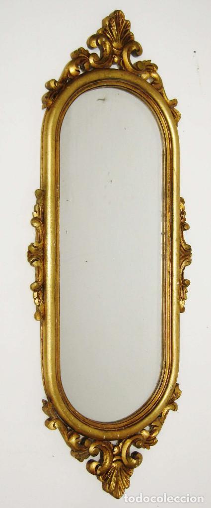 Espejo antiguo madera al pan de oro ovalado lar comprar for Espejos alargados