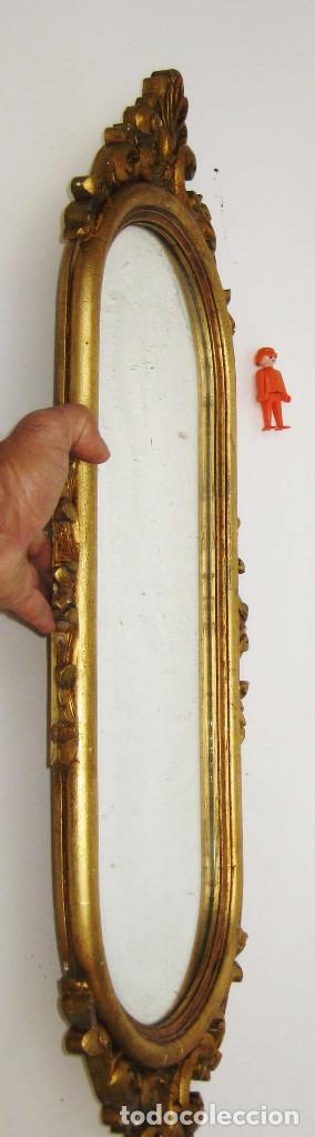 Antigüedades: ESPEJO ANTIGUO MADERA AL PAN DE ORO OVALADO LARGO IDEAL COMPOSICIONES O PILARES VINTAGE DECORACION - Foto 3 - 157126317