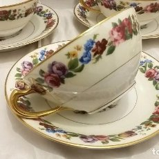 Antigüedades: SERVICIO DE CAFÉ , 6 TAZAS Y PLATO DE HAVILAND & CIE LIMOGES FRANCIA. Lote 69018889