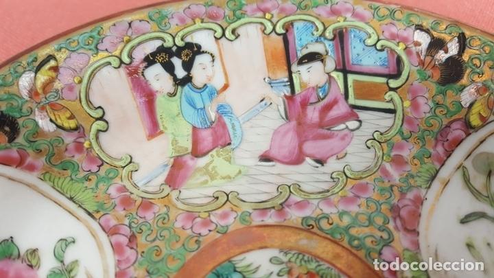 Antigüedades: BOL Y PLATO EN PORCELANA POLICROMADA Y ESMALTADA. CANTON. CHINA. SIGLO XIX. - Foto 9 - 69039925