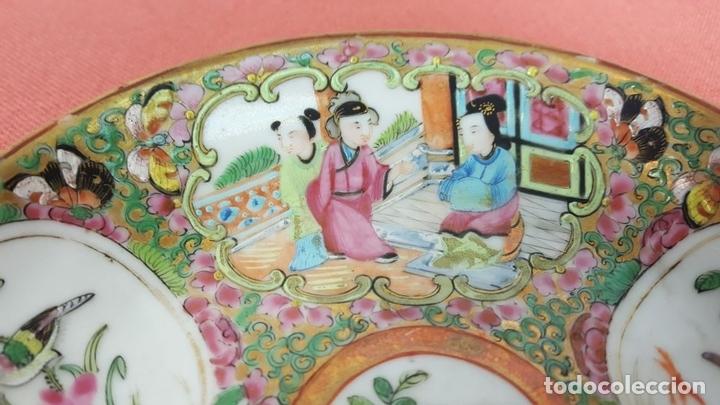 Antigüedades: BOL Y PLATO EN PORCELANA POLICROMADA Y ESMALTADA. CANTON. CHINA. SIGLO XIX. - Foto 10 - 69039925