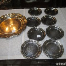 Antigüedades: PANERA DE ALPACA CON 8 PLATITOS A JUEGO.. Lote 69058829