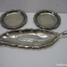 Antigüedades: LOTE DE PLATITOS Y BANDEJITA METAL CON BAÑO DE PLATEADO. Lote 69084713