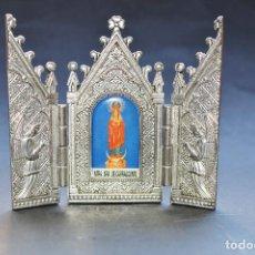 Antigüedades: TRIPTICO DE METAL NIQUELADO DE NTRA. SRA. DE CARRASCONTE 11*10 CM. Lote 69100181