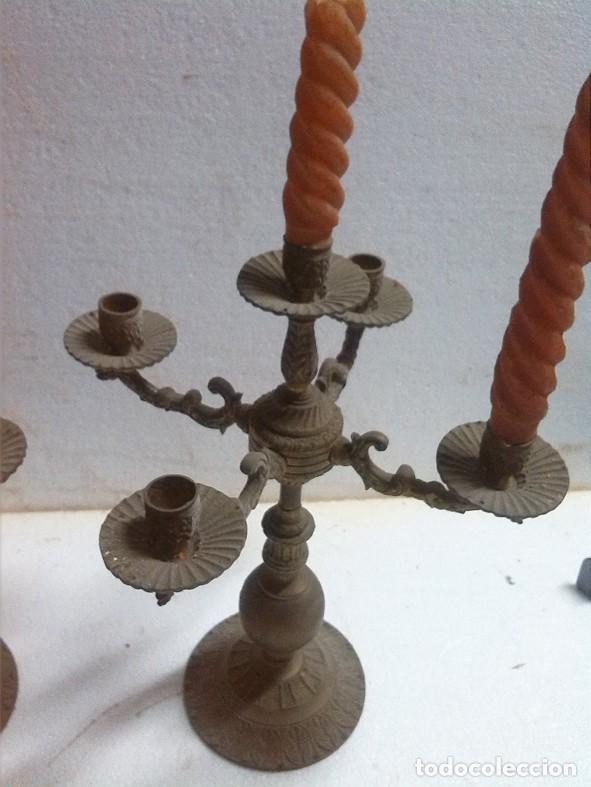 Antigüedades: PAREJA DE CANDELABROS DE CINCO VELAS - Foto 2 - 69131501