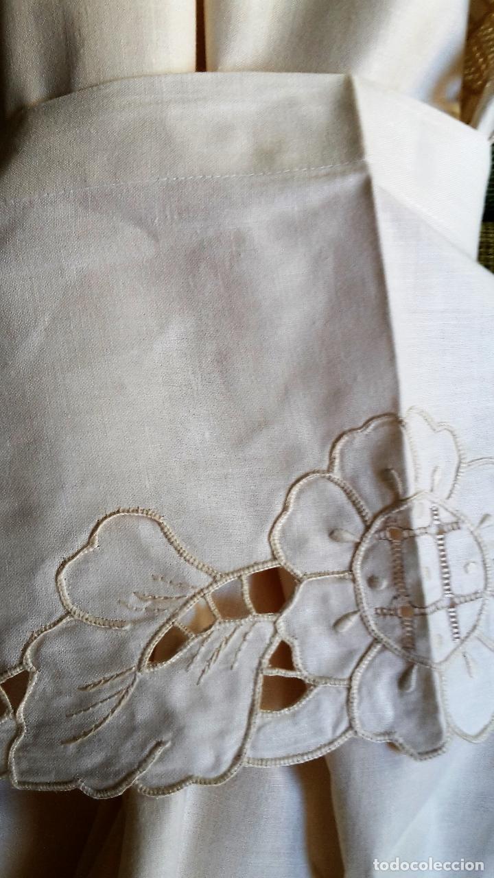 Antigüedades: Bonito panel cortina. 155x 225 cm. beige claro.bordado a mano. Nuevo - Foto 12 - 207838986