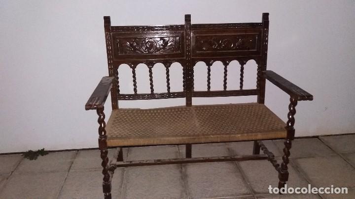 Antiguo mueble banco silla de madera maciza con comprar - Sofas antiguos de madera ...