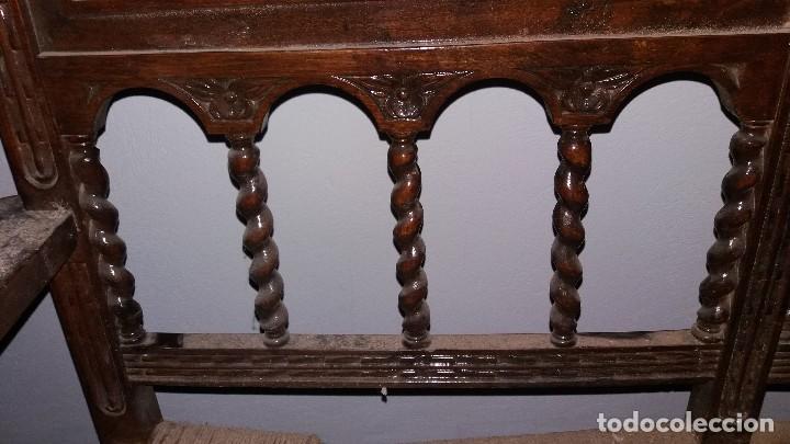 Antigüedades: Antiguo mueble banco silla de madera maciza con relieve cara guerrero romano balaustres salomonicos - Foto 16 - 69297449