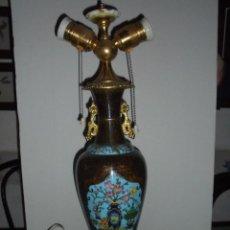 Antigüedades: (M) ANTIGUA LAMPARA DE SOBREMESA ORIENTAL ,CLAUSONIER ( ESMALTES ) BRONCE Y ONIX PERFECTO ESTADO . Lote 69365021
