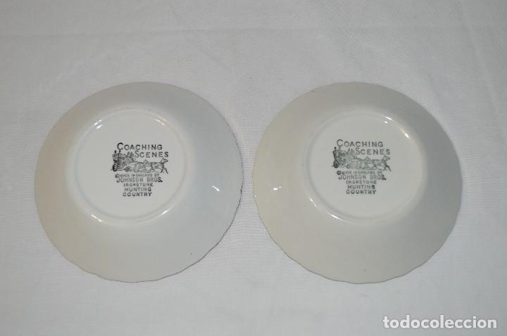 Antigüedades: Lote de 2 platos porcelana inglesa Johnson Bros. Coaching scenes. romanjuguetesymas. - Foto 2 - 83310482
