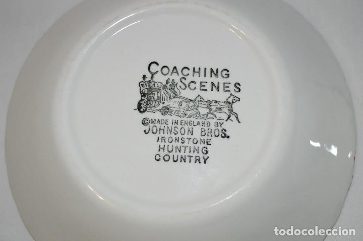 Antigüedades: Lote de 2 platos porcelana inglesa Johnson Bros. Coaching scenes. romanjuguetesymas. - Foto 3 - 83310482