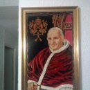 Antigüedades: CUADRO-TAPIZ ENMARCADO DEL PAPA SAN JUAN XXIII.. Lote 69659181