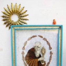 Antigüedades: RETABLO CUADRO ANTIGUO SAN FRANCISCO DE PAULA HILO ORO ENCAJE ALGODON LITOGRAFIA PIEL Y CARTON. Lote 69672225