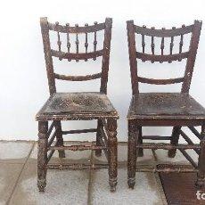 Antigüedades: 2 SILLAS ANTIGUAS. SILLA ANTIGUA DE MADERA PARA RESTAURACIÓN . Lote 69677533