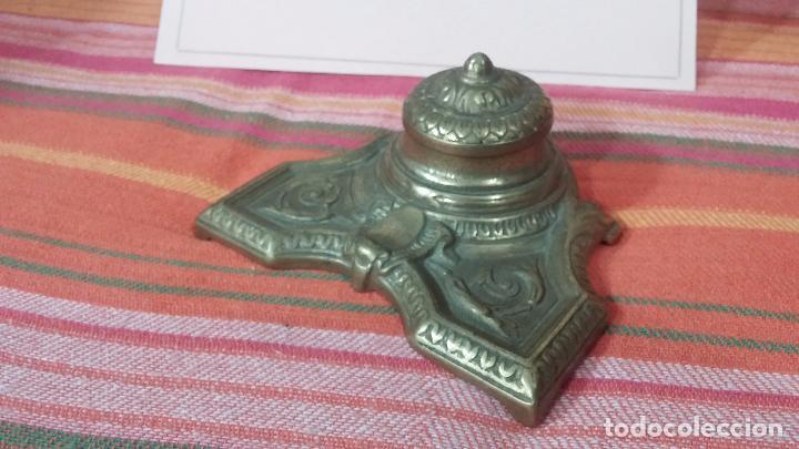 Antigüedades: Antigua escribania en bronce, con el pozo original de cerámica bien conservado - Foto 7 - 69721865