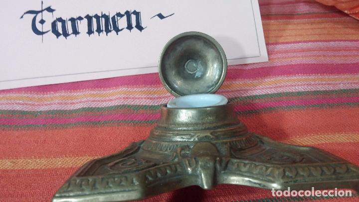 Antigüedades: Antigua escribania en bronce, con el pozo original de cerámica bien conservado - Foto 26 - 69721865