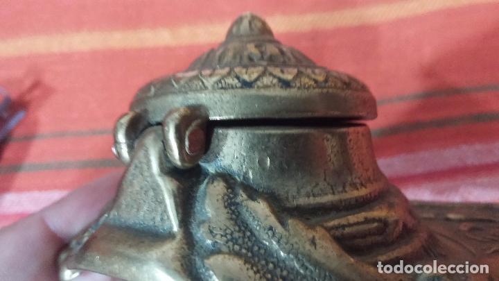 Antigüedades: Antigua escribania en bronce, con el pozo original de cerámica bien conservado - Foto 31 - 69721865