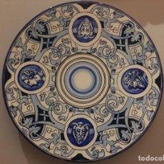 Antigüedades: GRAN PLATO MANISES FINALES S. XIX, CERAMICA AZUL. FIRMADO.. Lote 69767161