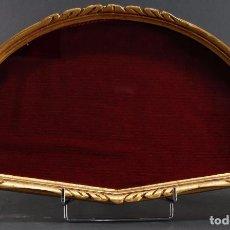 Antigüedades: ABANIQUERA MADERA TALLADA Y DORADA S XX . Lote 69824113