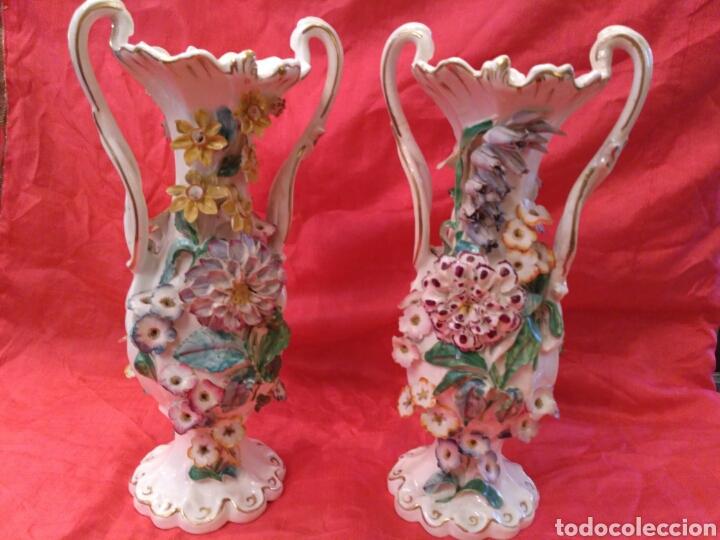 Antigüedades: Jarrones de loza vidriada del siglo XIX - Foto 2 - 57058979