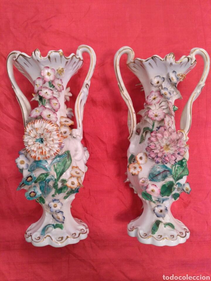 Antigüedades: Jarrones de loza vidriada del siglo XIX - Foto 3 - 57058979