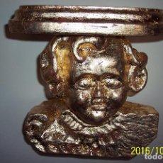 Antigüedades: QUERUBIN, MENSULA EN MADERA TALLADA CON PAN DE ORO.. Lote 69858193