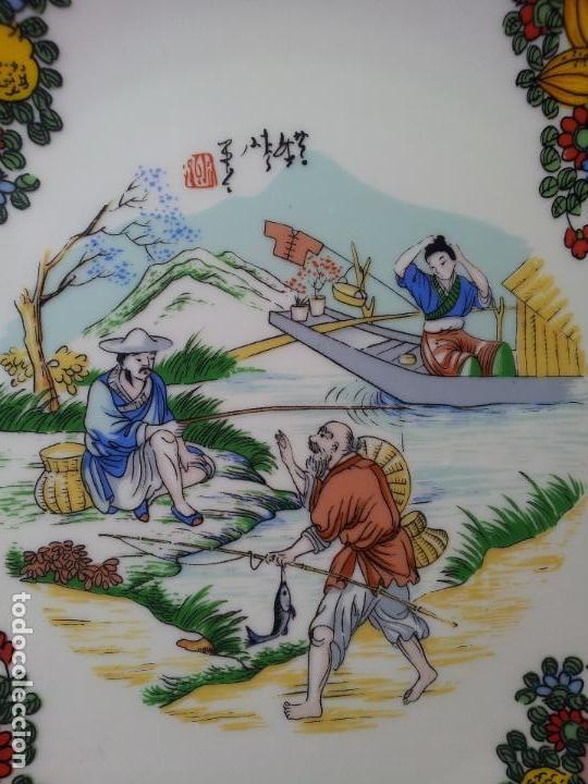 Antigüedades: PLATO ORIENTAL ASIA CHINA JAPON SATSUMA PINTADO MANO 25 CM DIAMETRO CON MARCAJE - Foto 16 - 69881345