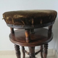 Antigüedades: MAGNIFICA SILLA TABURETE DE PIANO VICTORIANA EN CAOBA - FIRMADO J. FITTER - AJUSTABLE Y GIRATORIO. Lote 69909753