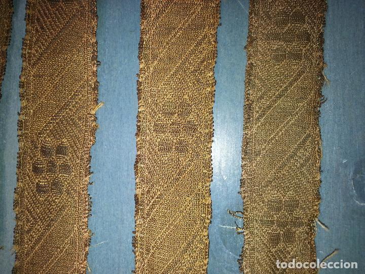 Antigüedades: galon oro lote de 6 galones antiguos dorados metal , originales confeccion virgen santo semana santa - Foto 6 - 69991265