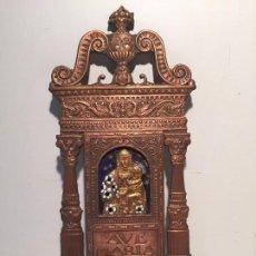 Antigüedades: BENDITERA DE COBRE REPUJADO ANTIGUA, AVE MARIA.. Lote 70013265