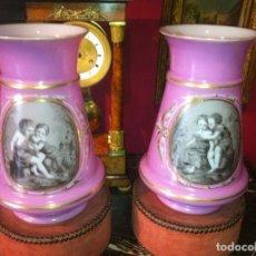 Antigüedades: PAREJA DE COPAS EN OPALINA ROSA Y ORO. FRANCIA SIGLO XIX BACCARAT.. Lote 70021445