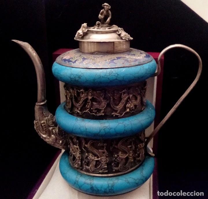 Antigüedades: TETERA DE PLATA REPUJADA, HOWLITA Y CLOISONNE - 289 GRAMOS. - Foto 2 - 70058237