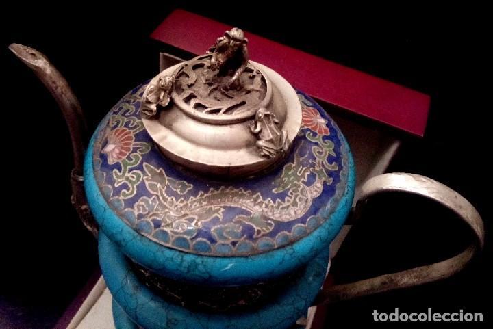 Antigüedades: TETERA DE PLATA REPUJADA, HOWLITA Y CLOISONNE - 289 GRAMOS. - Foto 9 - 70058237