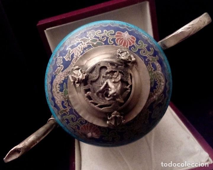 Antigüedades: TETERA DE PLATA REPUJADA, HOWLITA Y CLOISONNE - 289 GRAMOS. - Foto 10 - 70058237