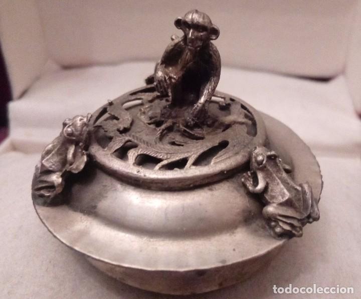 Antigüedades: TETERA DE PLATA REPUJADA, HOWLITA Y CLOISONNE - 289 GRAMOS. - Foto 12 - 70058237