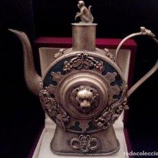 Antigüedades: ANTIGUA TETERA DE JADE Y FILIGRANA DE PLATA - 207 GRAMOS.. Lote 70059317