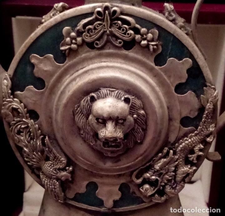 Antigüedades: ANTIGUA TETERA DE JADE Y FILIGRANA DE PLATA - 207 GRAMOS. - Foto 2 - 70059317