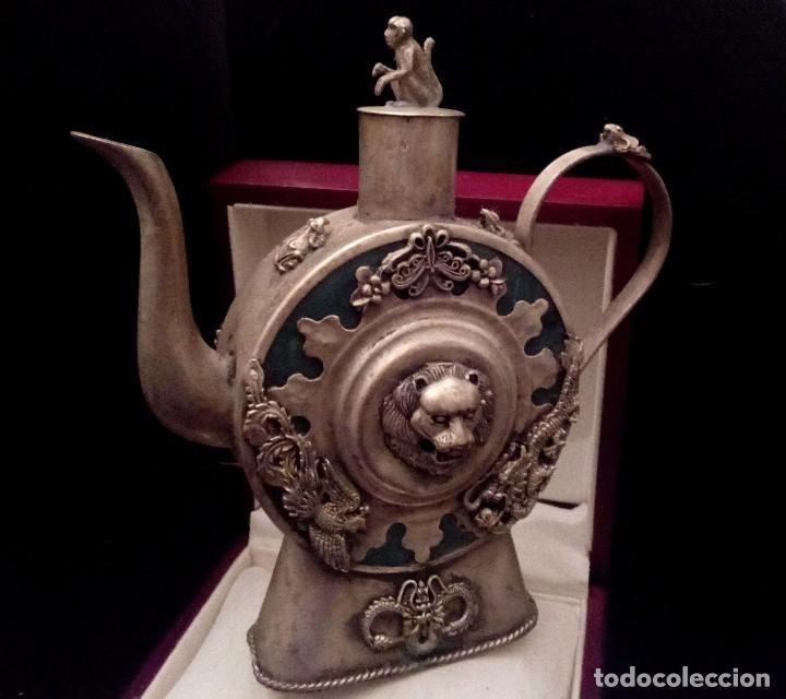 Antigüedades: ANTIGUA TETERA DE JADE Y FILIGRANA DE PLATA - 207 GRAMOS. - Foto 3 - 70059317