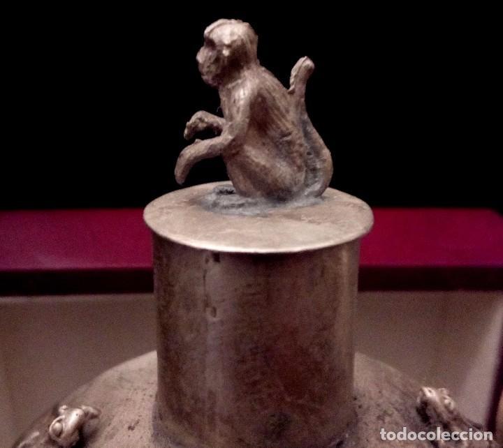 Antigüedades: ANTIGUA TETERA DE JADE Y FILIGRANA DE PLATA - 207 GRAMOS. - Foto 4 - 70059317