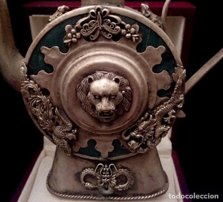 Antigüedades: ANTIGUA TETERA DE JADE Y FILIGRANA DE PLATA - 207 GRAMOS. - Foto 5 - 70059317