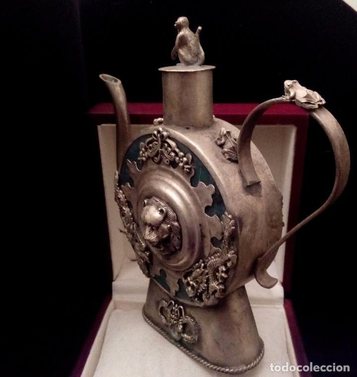 Antigüedades: ANTIGUA TETERA DE JADE Y FILIGRANA DE PLATA - 207 GRAMOS. - Foto 6 - 70059317