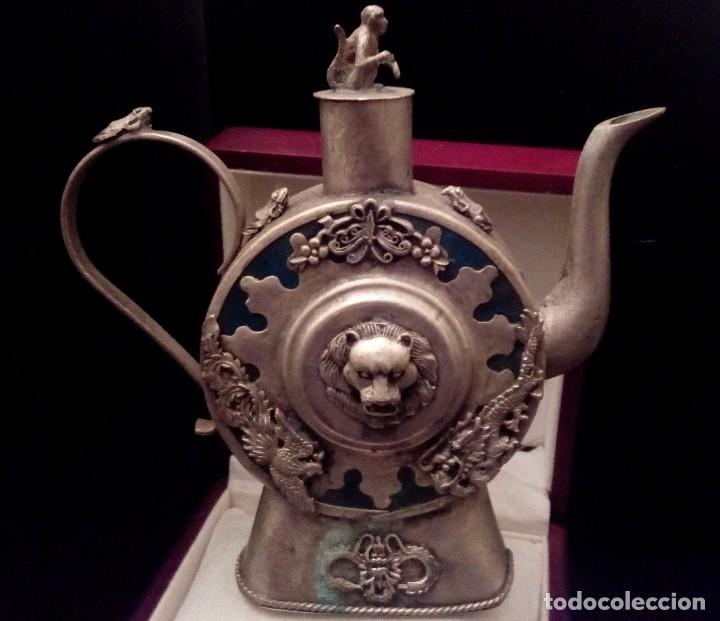 Antigüedades: ANTIGUA TETERA DE JADE Y FILIGRANA DE PLATA - 207 GRAMOS. - Foto 11 - 70059317